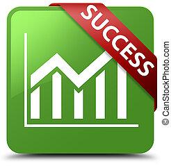 Success (statistics icon) soft green square button red ribbon in corner