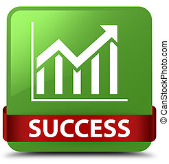 Success (statistics icon) soft green square button red ribbon in middle