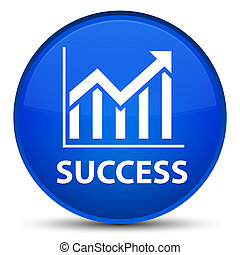 Success (statistics icon) special blue round button