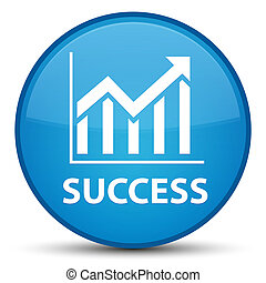 Success (statistics icon) special cyan blue round button