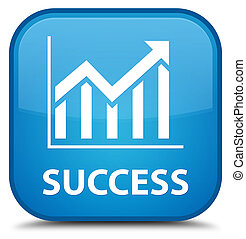 Success (statistics icon) special cyan blue square button