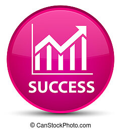 Success (statistics icon) special pink round button