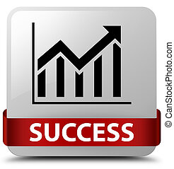 Success (statistics icon) white square button red ribbon in middle