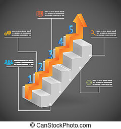 Success Steps Concept Arrow and Staircase Infographic Icons Vector Illustration