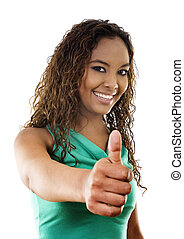 Success - Stock image of woman standing with thumbs up, over...