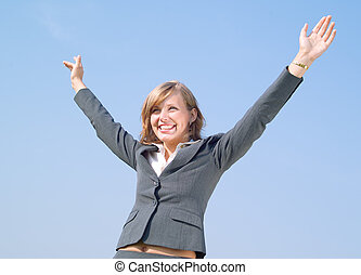 Success - Portrait of successful business lady in grey suit
