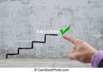 success - stairs with the green symbol of success