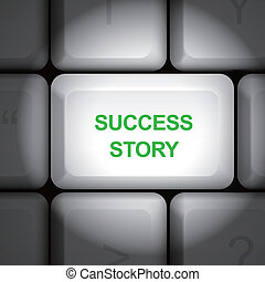 success story concept with computer keyboard