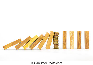 success strategy, money and domino