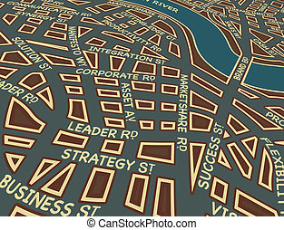 Editable vector map of a generic city with business street names