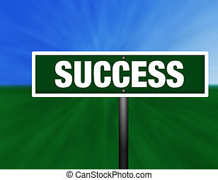 Success Street Sign - A green and white street sign with...
