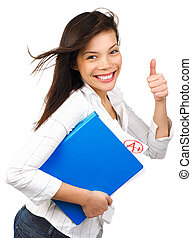 Success student - Young woman happy of her top grade doing a...