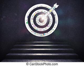 success., target., の上, レンダリング, ゴール, 着きなさい, 階段, 3d