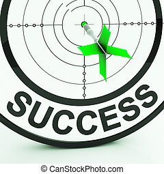 Success Target Shows Achievement Strategy And Winning -...
