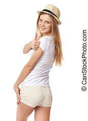 Success teen girl giving thumbs up - Happy smiling success...