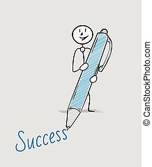 success text and pen