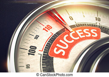 Success - Text on Conceptual Scale with Red Needle. 3D.