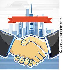 Two men shake hands. Presentation template