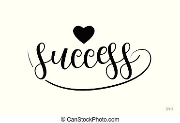 success typography text with love heart
