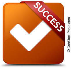 Success (validate icon) brown square button red ribbon in corner
