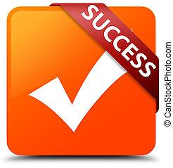 Success (validate icon) orange square button red ribbon in corner