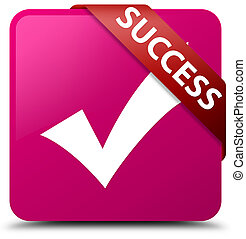 Success (validate icon) pink square button red ribbon in corner