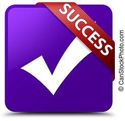 Success (validate icon) purple square button red ribbon in corner