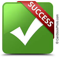 Success (validate icon) soft green square button red ribbon in corner