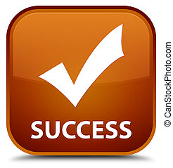 Success (validate icon) special brown square button