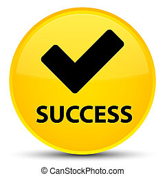 Success (validate icon) special yellow round button