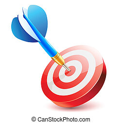 success - Vector illustration of blue dart hitting in the ...