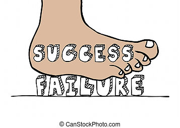 Success Vs Failure Foot Stomping Word 3d Illustration