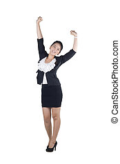 Success / winner business woman isolated white background.