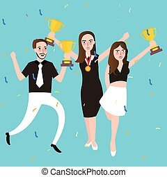 success winner team get award prize three people celebrate trophy victory