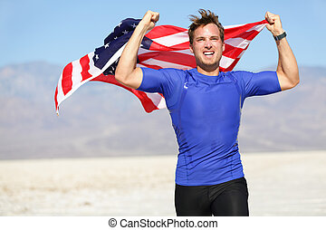 Success - winning runner cheering with USA flag