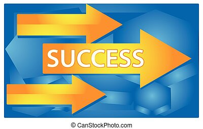 Success with arrow sign on blue background. The Vector Illustration is showing the concept of the road to success.