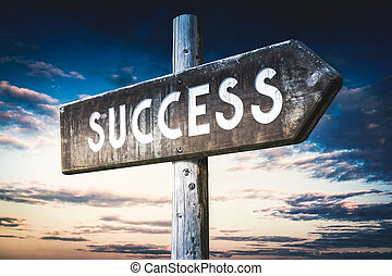 Success - wooden signpost, roadsign with one arrow