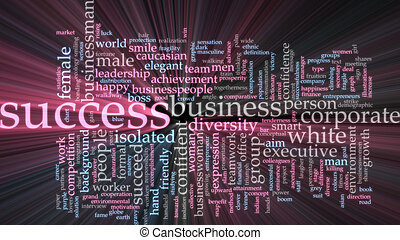 Success word cloud glowing - Word cloud concept illustration...