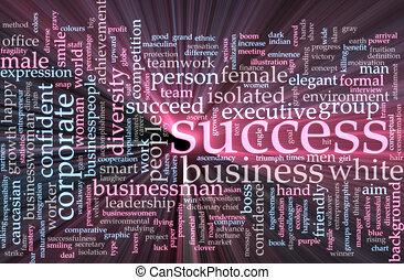 Success word cloud glowing