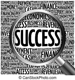 SUCCESS word cloud with magnifying glass