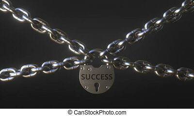SUCCESS word on a padlock holding metal chains. Conceptual 3D animation