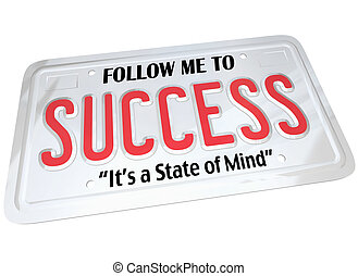 Success Word on License Plate Follow to Successful Future -...