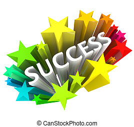 Success - Word Surrounded by Colorful Stars - The word...