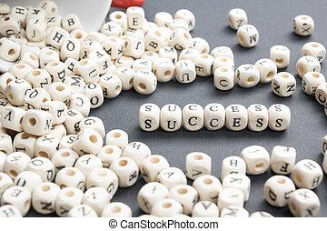 Success word written on wood block. Wooden ABC