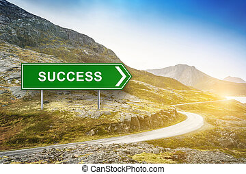success words on green road sign