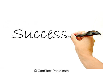 Writing the word success on a whiteboard