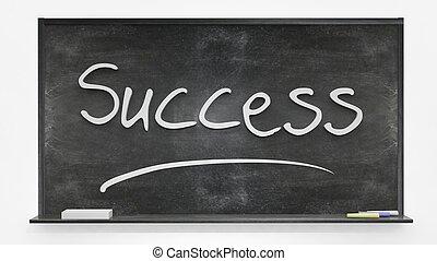 'Success' written on blackboard