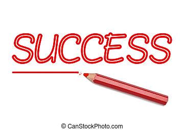 Success written red pencil - Success text written red pencil...