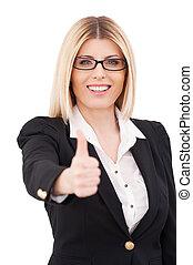 success., zaufany, dojrzały, kobieta interesu, pokaz, jej, kciuk do góry, i, uśmiechanie się, znowu, reputacja, odizolowany, na białym