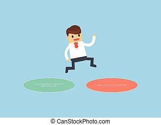 success., zone, comfort, springt, zakenman, uit